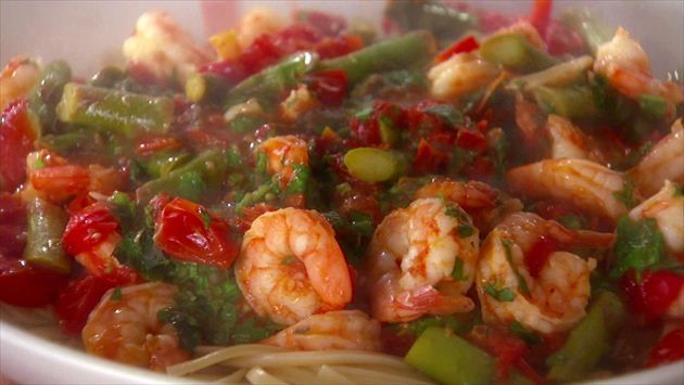 Get Linguine with Shrimp, Asparagus and Cherry Tomatoes Recipe from Food Network