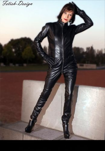 Genuine-Leather-Catsuit-Lederoverall-Long-Zipper-Dress-Cat-suit-kinky-Dress