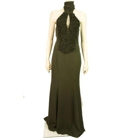 Authentic Valentino Long Maxi Halter Neck Dress with Front Ruffled Panel