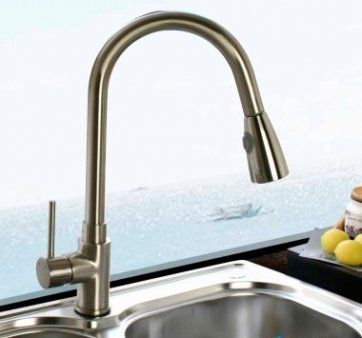 Tiffany Brushed Steel Kitchen Mixer Tap - Pull Out Spray [PT-TK262] - £87.99 : Platinum Taps & Bathrooms