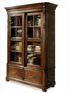 Double Sliding Glass Door Bookcase by Riverside