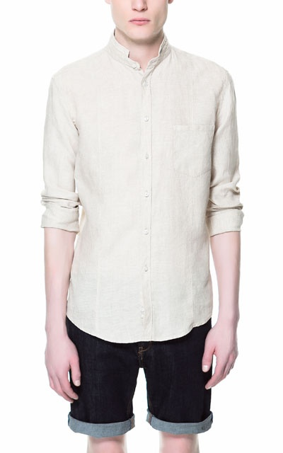 LINEN SHIRT WITH MAO COLLAR - Casual - Shirts - Man - ZARA India Ref. 3894/414 2,790 INR