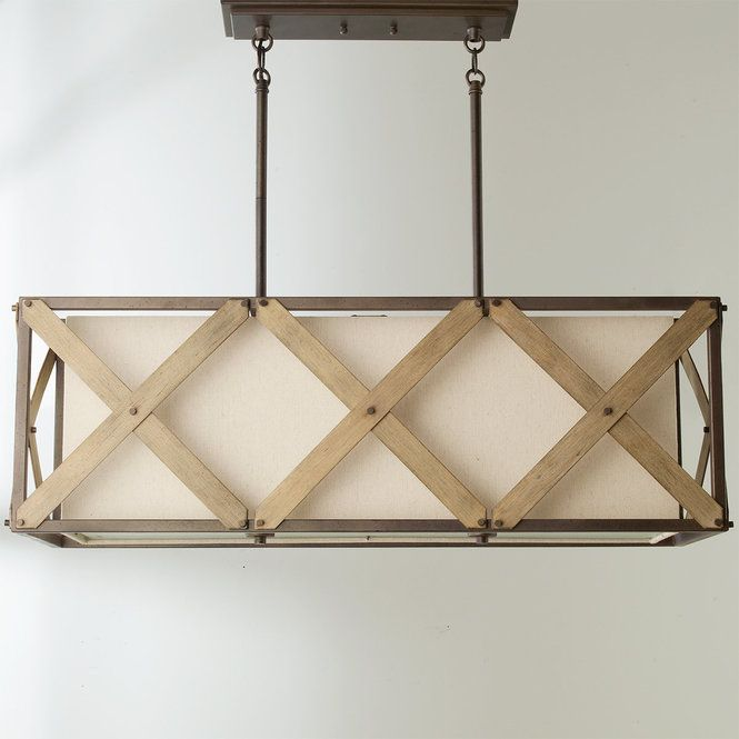 "Rustic, industrial, and modern elements combine in this transitional island chandelier which features a Beige Linen shade framed with Iron finished metal and crossed with Distressed Antique Gray accents. Available in two sizes. 3x100 watt medium base bulbs max. (13""Hx37.25""Lx13.50""W). Canopy 16.25"". Supplied with 36"" of rods. Supplied with 111"" of wire. Overall height 51""."