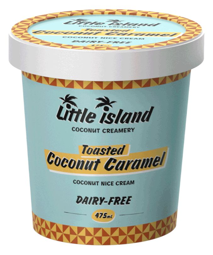 New from Little Island - dairy free Coconut Caramel ice cream! Take out of the fridge 10 minutes before eating to soften a little and it's even better!