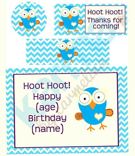 Giggle and Hoot Owl Inspired Personalised birthday cupcake toppers, water bottle labels, thank you'd and birthday sign!  Digital image purchase- print as many as you need!! -Karma by Carmelina