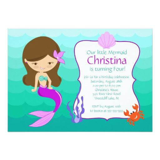 371 best Mermaid Birthday Party Invitations images on Pinterest