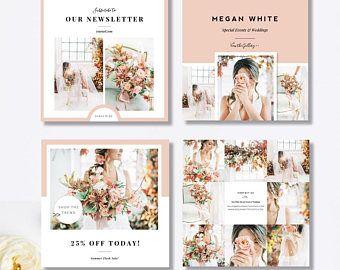 Instagram Template Pack, Social Media Marketing Templates, Pre-Made Branding Designs for Facebook & Instagram, Photoshop Templates