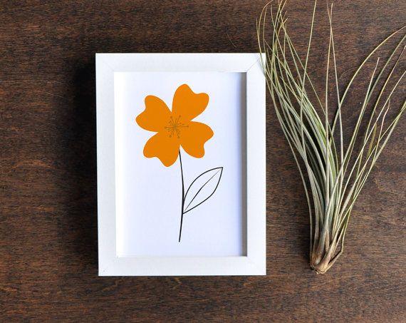 California Poppy Art Print Retro Botanical by RetroMenagerie, $16.00