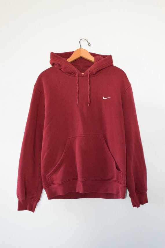 RED NIKE HOODIE // size mens medium // 90s // sweatshirt // pullover // maroon…
