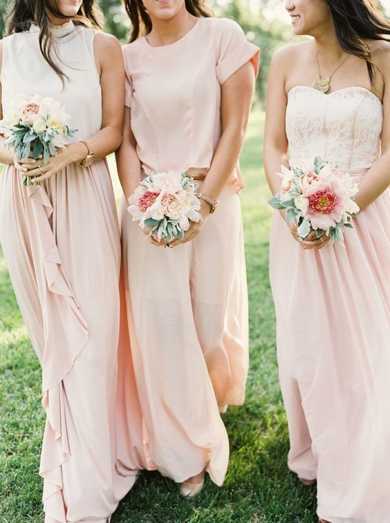 38 Beautiful Spring Bridesmaids' Dresses: flowy blush maxi skirts and strapless tops
