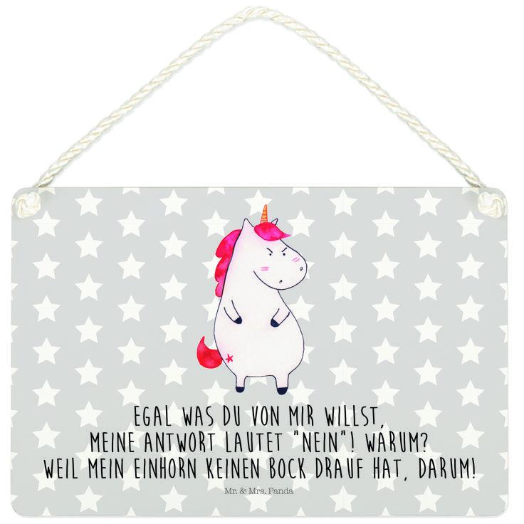 Deko Schild Einhorn wütend aus MDF  Weiß - Das Original von Mr. & Mrs. Panda.  Ein wunderschönes Schild aus der Manufaktur von Mr. & Mrs. Panda - die Schilder werden von uns direkt nach der Bestellung liebevoll bedruckt und mit einer wunderschönen Kordel zum Aufhängen versehen.    Über unser Motiv Einhorn wütend  Das wütende Einhorn ist das perfekte Motiv für die Arbeit. Sympathischer kann man es gar nicht sagen, dass man keine Lust auf dumme Fragen hat. Weiterer positiver Nebeneffekt: Man…