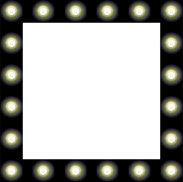 Vanity With Marquee Lights : Hollywood Mirror with Light Bulbs clip art Clipart - Showbiz Make-up Mirror Style Frame ...