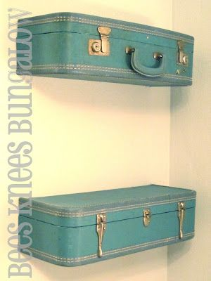 I made a French cleat so that the shelf was more easily removed from the wall.  The worn brown leather suitcase looks great in the navy room! I love that I have a way to show off Grandma's suitcase, it's no longer in storage with our other luggage! Great idea!