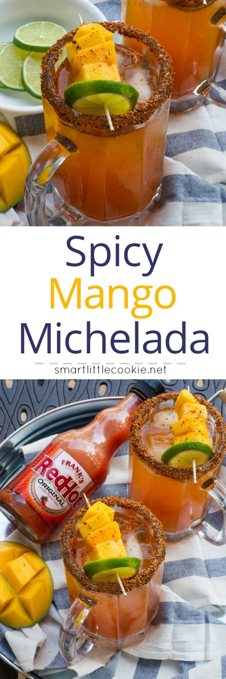 A sweet and spicy cocktail made with vegetable juice, mango tequila, Tajin, hot sauce and beer. This Spicy Mango Michelada is the perfect poolside drink this summer!#RedHotSummer #ad #IPTSOE
