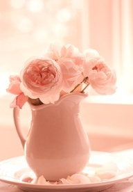♡ Home Pink Home ♡  pink roses in a pitcher