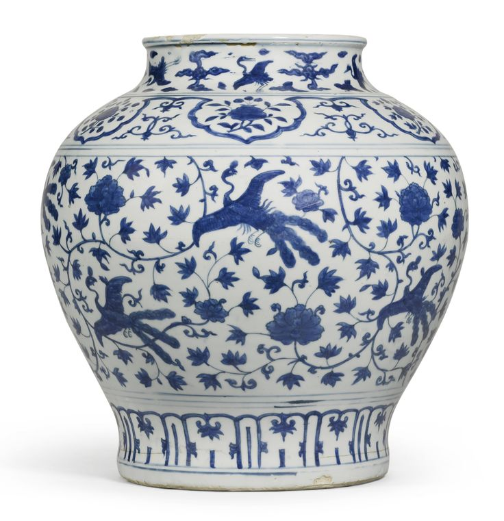 A Blue And White Lotus And Peacock Vase Ming Dynasty