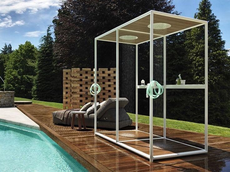WAZEBO Wooden outdoor shower by Kos by Zucchetti