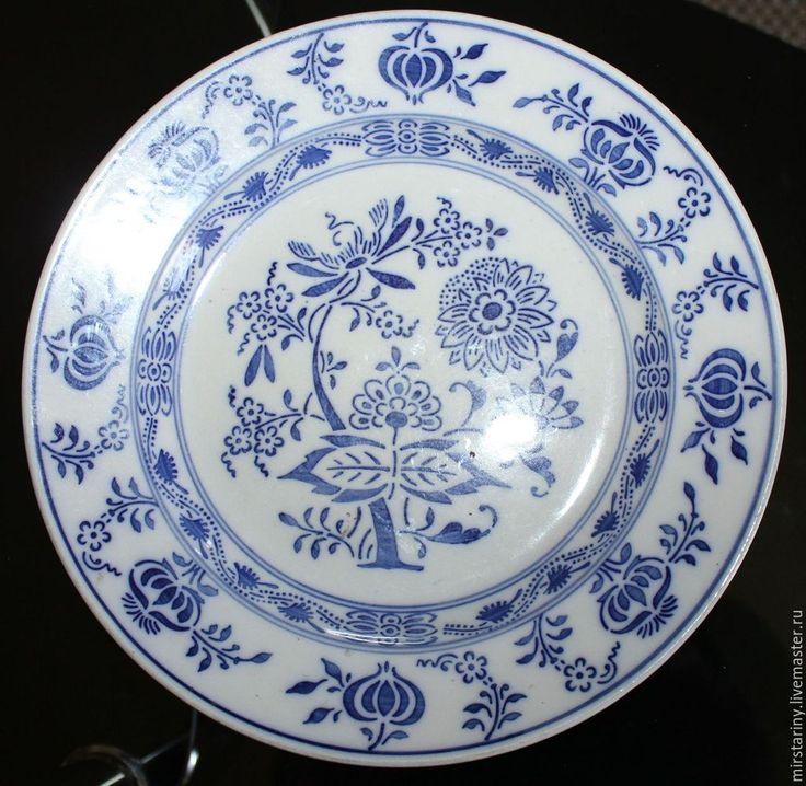 Купить Антикварная тарелка Синий лук(Zwiebelmuster), Villeroy & Boch Dresden - синий, мир старины
