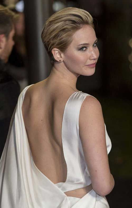 Jennifer Lawrence Slicked Back Pixie Hair Cut