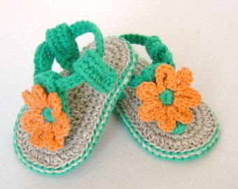 CROCHET PATTERN Baby Sandals with Little Puff by matildasmeadow
