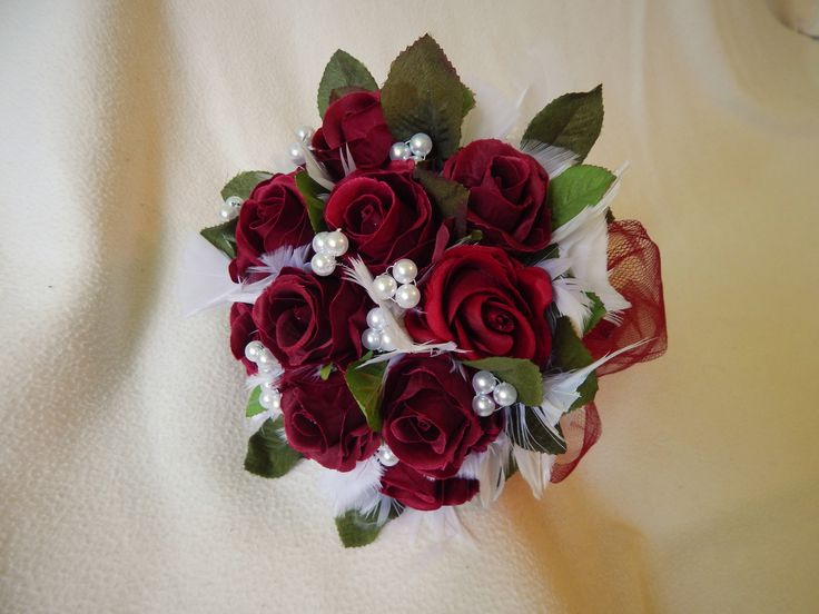 """Beautiful Handmade """"Red Roses with white Feathers"""" Bridal Bouquet US$51.29"""
