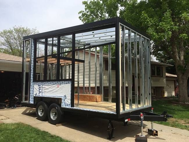 ATLAS TINY HOUSE - steel framing lightens its overall weight, while conferring a strong, underlying structure. It is also built on top of a double-axle utility trailer base.