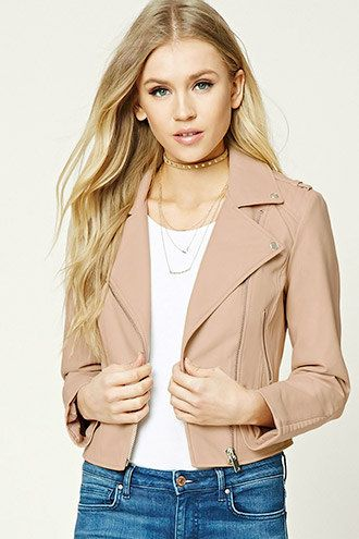 Faux Leather Moto Jacket   Forever 21 - 2000226610