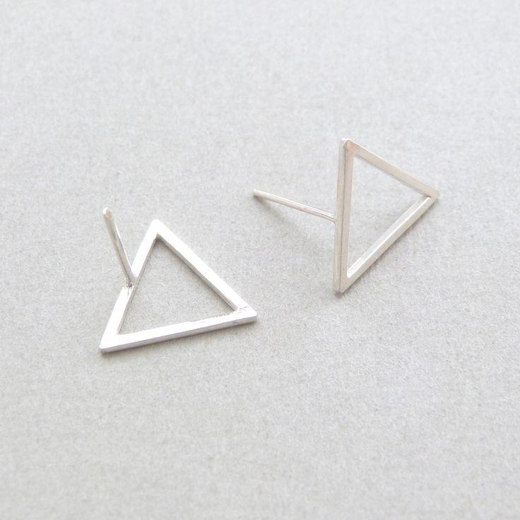 Triangle stud earrings in silver // Minimal luxe handmade jewellery by Elin Horgan