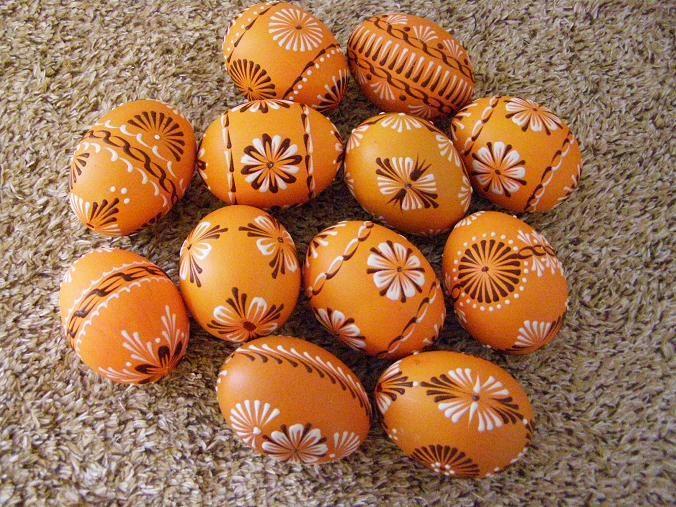 oranžová - tmavobílý vosk