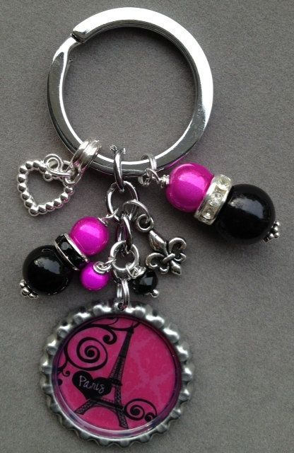 bottle cap charms | PARIS bottle cap keychain hot pink and black by KeyChainBling, $16.00