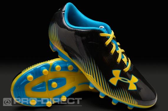 Under Armour Junior Football Boots - Under Armour Blur Challenge II FG - Firm Ground - Kids Soccer Cleats - Black-Blue-Sun