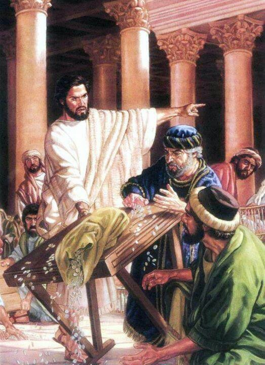 Jesus is depicted in the Bible as manly, courageous, intelligent, humble, and never one to water down the truth. Here he throws the money changers out of his Father's temple with a whip.