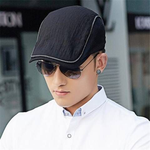 Spring plain beige flat cap for men UV casual outdoor sun hats with mesh