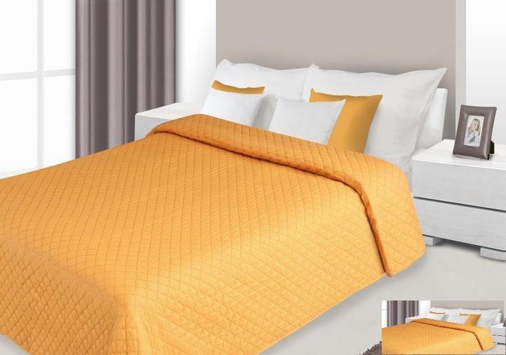 Dwustronna pomarańczowa narzuta na łóżko