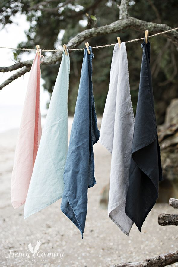 Stonewash linen tea towels available in 5 colours - an essential for your kitchen this summer.