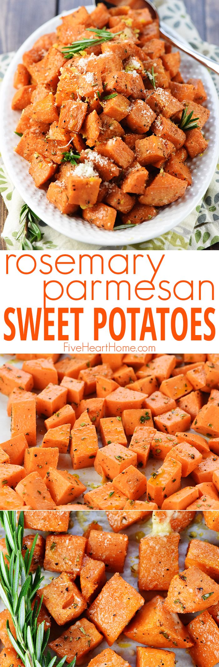 Rosemary Parmesan Roasted Sweet Potatoes ~ a simple, healthy, savory-sweet recipe that's the perfect side dish for a regular weeknight dinner or a special holiday menu! | FiveHeartHome.com via @fivehearthome