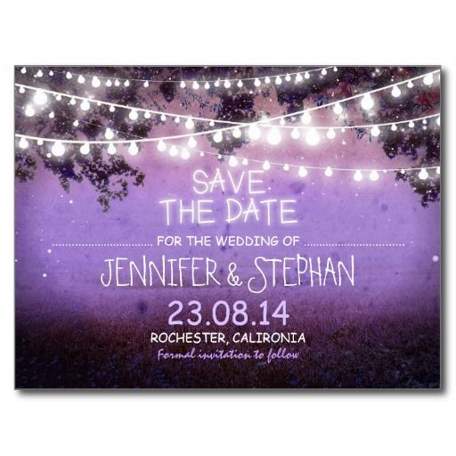 purple night lights romantic save the date