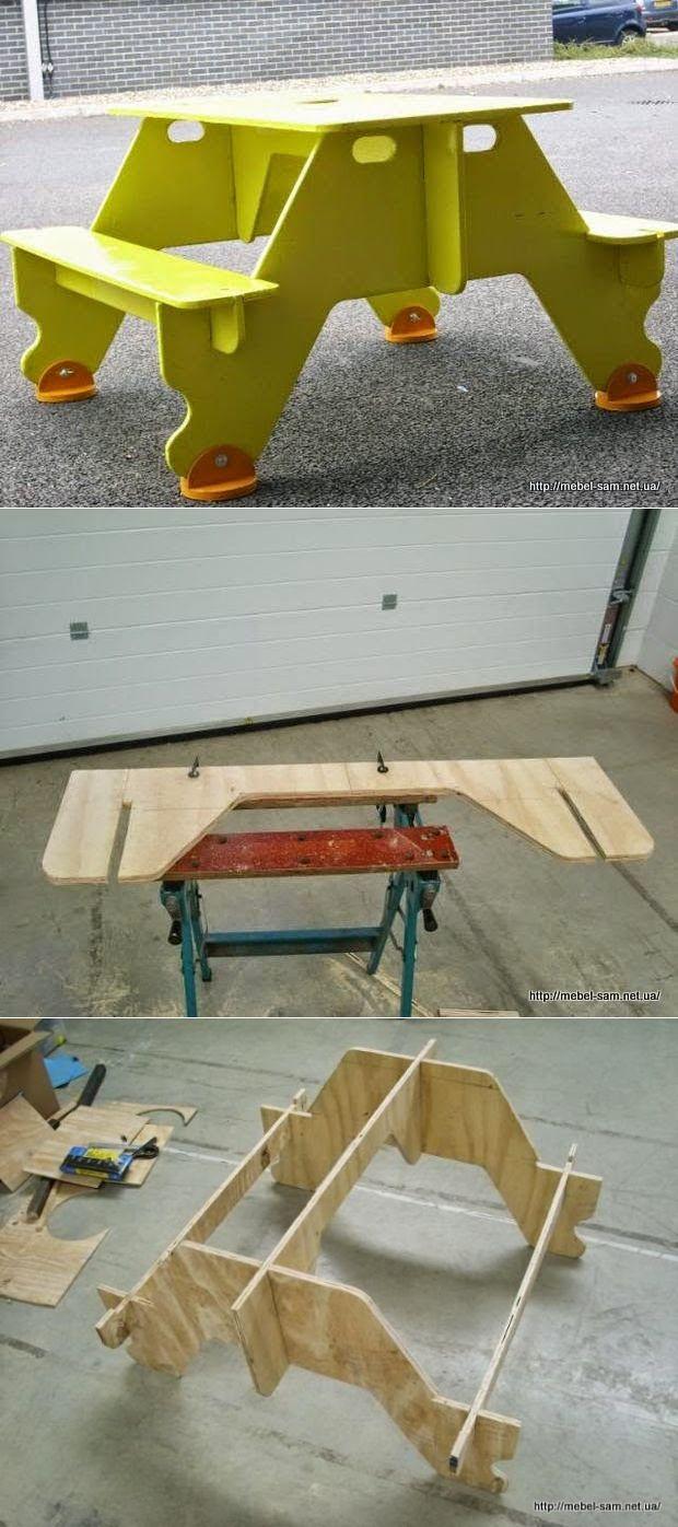 Fácil montaje de la tabla de madera contrachapada para picnics por Gareth Lewis