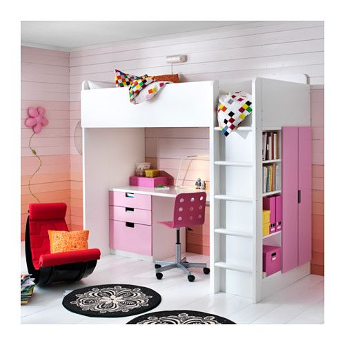 STUVA Loft bed combo w 3 drawers/2 doors - white/pink - IKEA