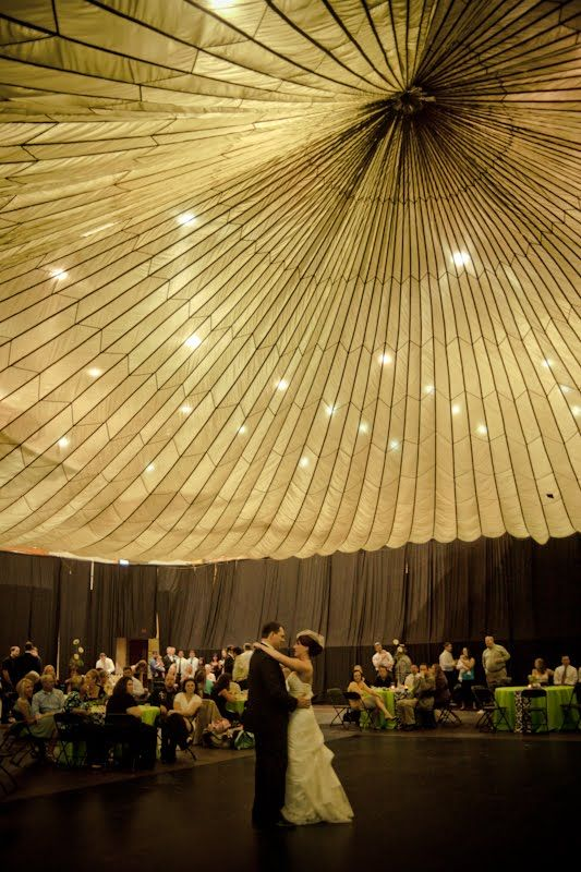 That's a parachute on the ceiling that they rented for 35 dollarsLights, Wedding Receptions, Tents, Wedding Shoes, Parties, Cool Ideas, Parachute Ceilings, Ceilings Decor, Green Wedding