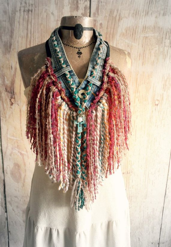 Fringed Necklace Chic Boho Scarf Tribal by BrokenGhostClothing