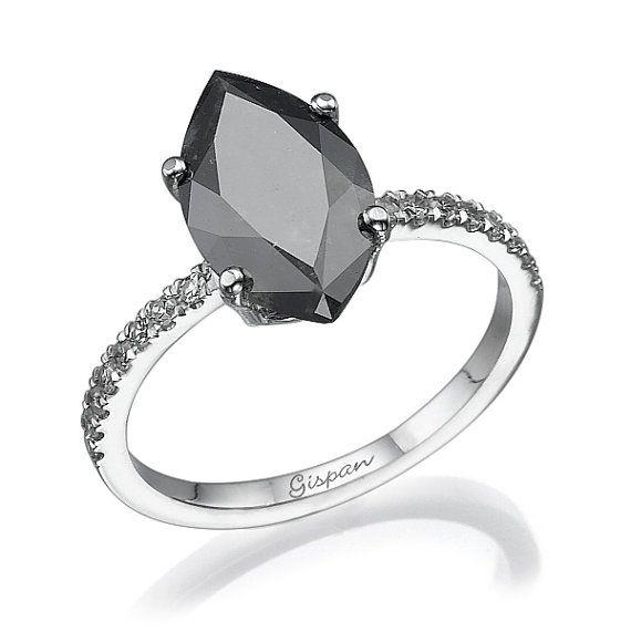 Marquise Black Diamond Engagement Ring white by Gispandiamonds
