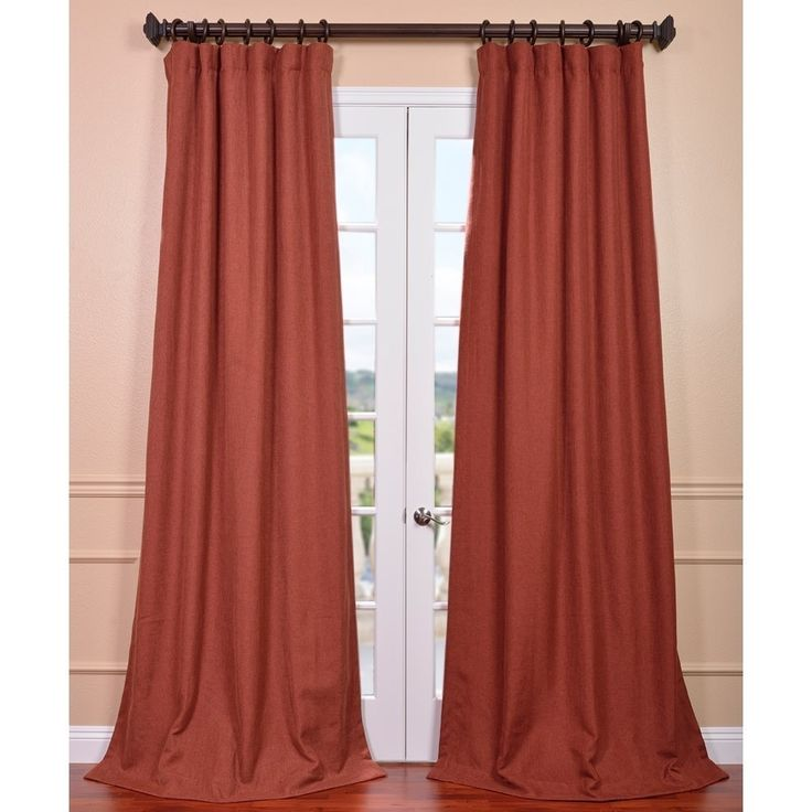 Exclusive Fabrics Rust Linen Weave Curtain Panel By Exclusive Fabrics