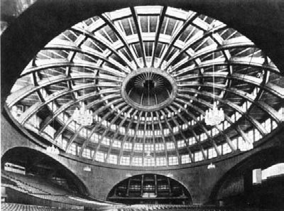 Max Berg  Jahrhunderthalle, Breslau (Wroclaw), Germany/Poland, 1913    The first (ribbed) reinforced concrete dome whose span (65 m) exceeds all earlier masonry domes.