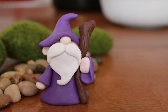 Polymer Clay Wizard - Miniature Wizard - Mini Clay Wizard - Fairy Garden Accessory - Terrarium Accessory - Wizard Sculpture