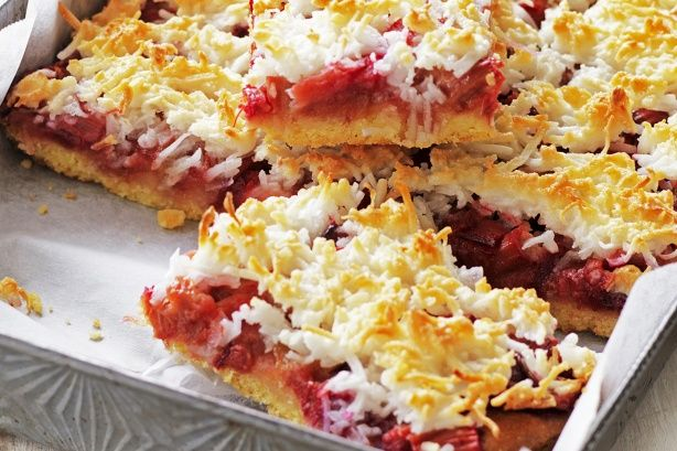 With a seasonal twist of rhubarb, this delicious slice will soon be a family favourite.