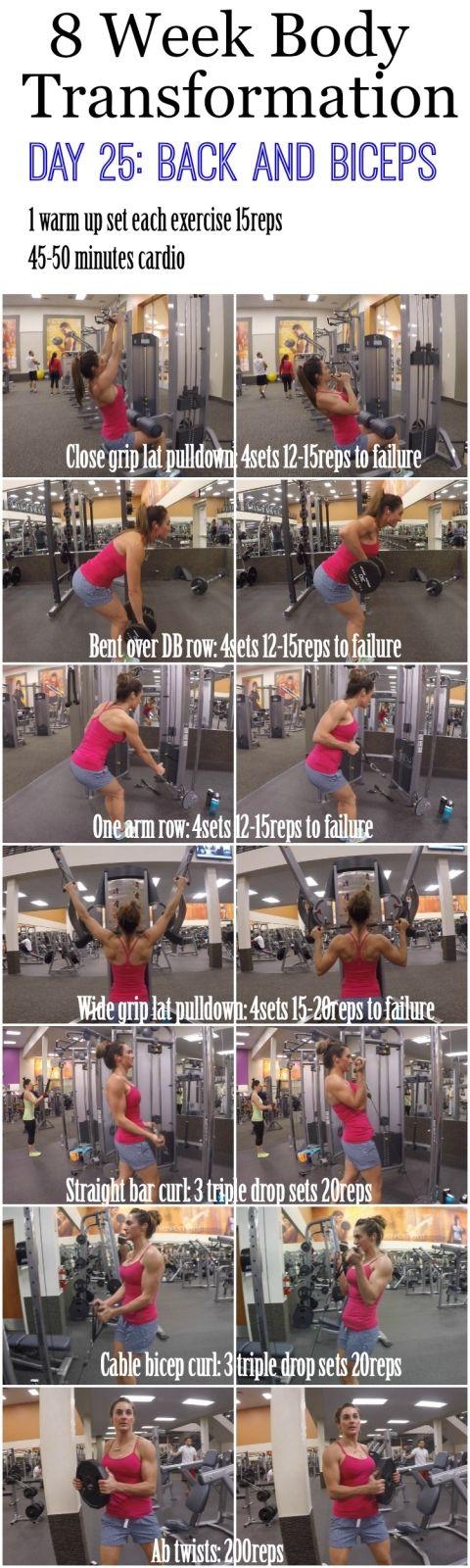 8 Week Body Transformation Day 25 Back/Biceps