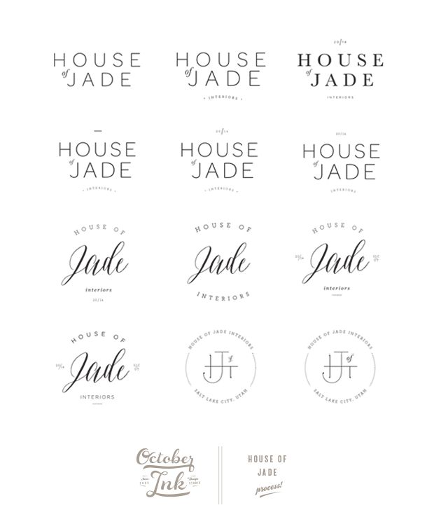 House of Jade Interiors Design Process | by www.octoberink.com logo variations clean type