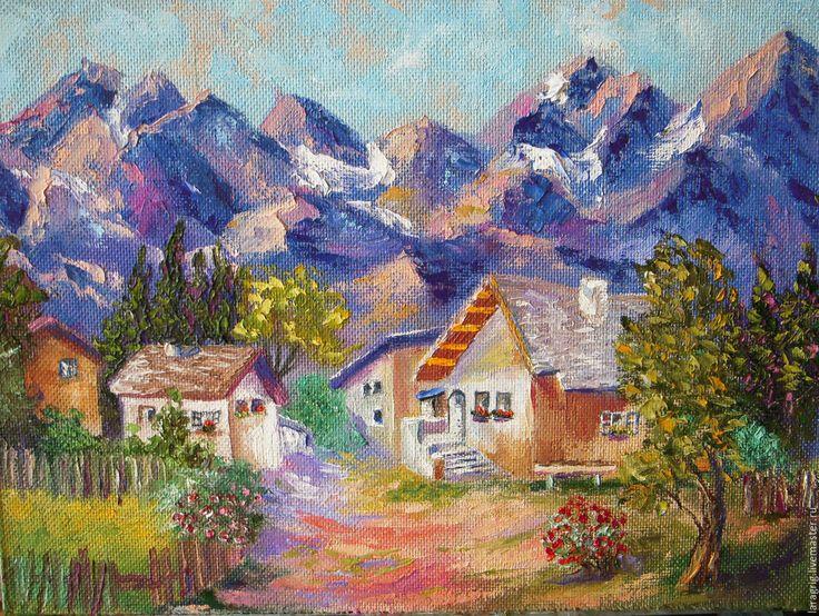 """Купить """"Горная деревенька""""- художник Лариса Григ - комбинированный, пейзаж маслом, картина для интерьера, домики"""