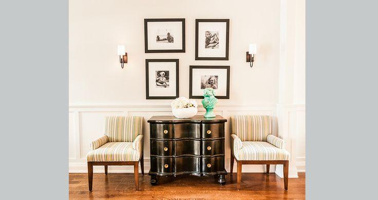 Fia Interiors Foyer Design - Custom Upholstered Chairs. Dresser by Burnett.